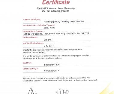 IAAF Sertifikalarımız